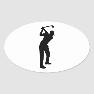 Golf player oval sticker