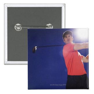 Golf player swinging club pinback button