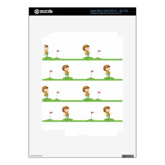 Golf playing boy iPad 3 skins