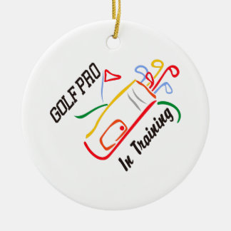 Golf Pro Double-Sided Ceramic Round Christmas Ornament