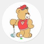 Golf Pro Teddy Bear Classic Round Sticker