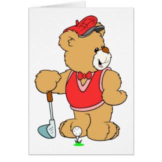 Golf Pro Teddy Bear Greeting Card