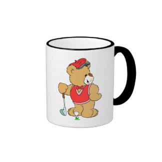 Golf Pro Teddy Bear Ringer Coffee Mug