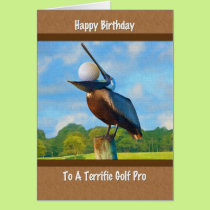 Golf Pro's Birthday, Pelican with Golf Ball Card