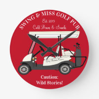 Golf Pub Golf Cart Beer & Snacks Wild Stories Round Clock
