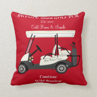 Golf Pub Golf Cart Beer & Snacks Wild Stories Throw Pillow
