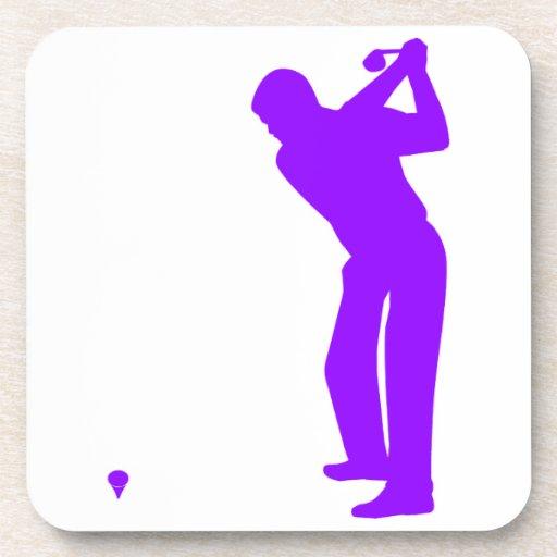 Golf púrpura violeta posavasos de bebida