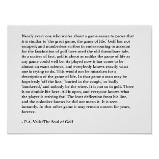 Golf Quote: The Game Of Life Print