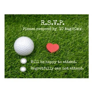 Golf R.S.V.P. Card with golf ball and red heart