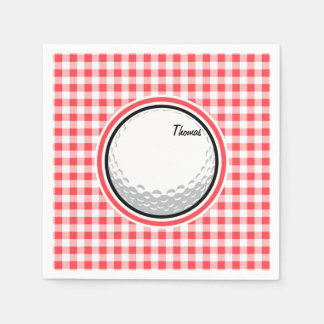Golf; Red and White Gingham Paper Napkin