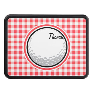 Golf; Red and White Gingham Trailer Hitch Cover