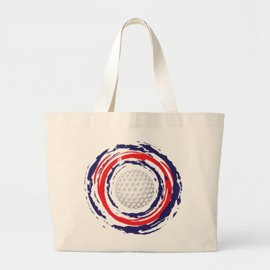 Golf Red Blue And White Large Tote Bag
