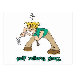 golf relieves stress humor postcards