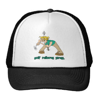 golf relieves stress humor trucker hat