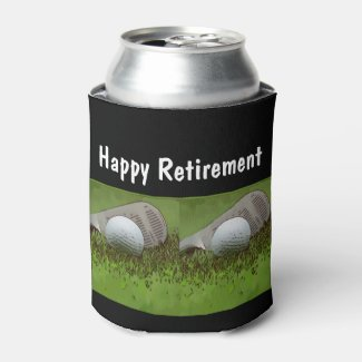 Golf retirement golf ball with iron on green can cooler