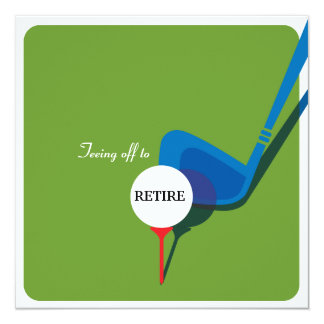"Golf Retirement Party Invitation - Get the Swing 5.25"" Square Invitation Card"