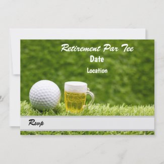 Golf Retirement Party Save the date with beer Invitation