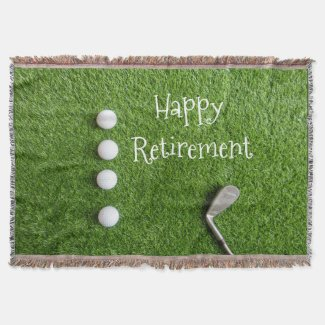 Golf retirement to golfer with golf ball on green throw blanket