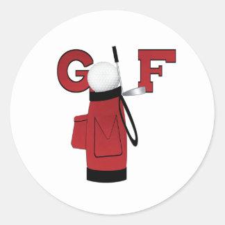 Golf rojo de la bolsa de golf pegatina redonda