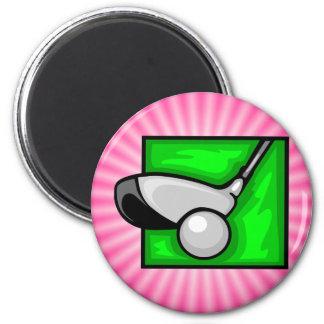 Golf rosado imán redondo 5 cm