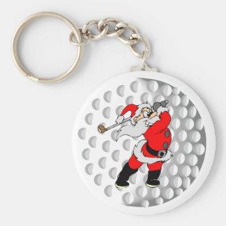 Golf Santa Basic Round Button Keychain