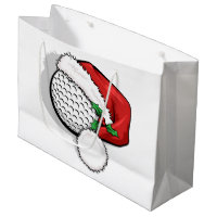 Golf Santa Cap for Christmas Large Gift Bag
