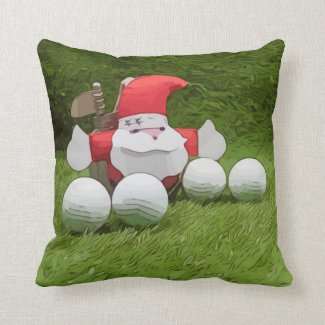 Golf Santa Claus and golf ball Christmas to golfer Throw Pillow