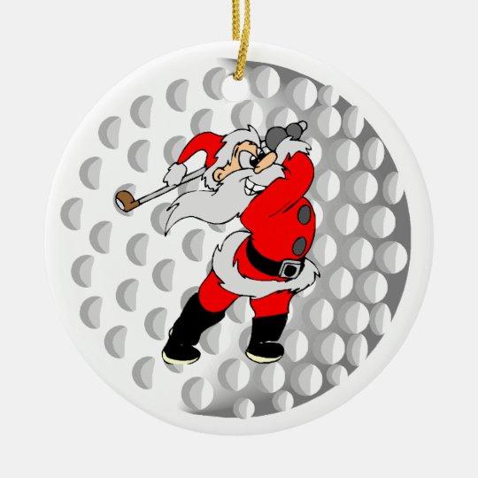 Golf Santa Sports Ceramic Ornament