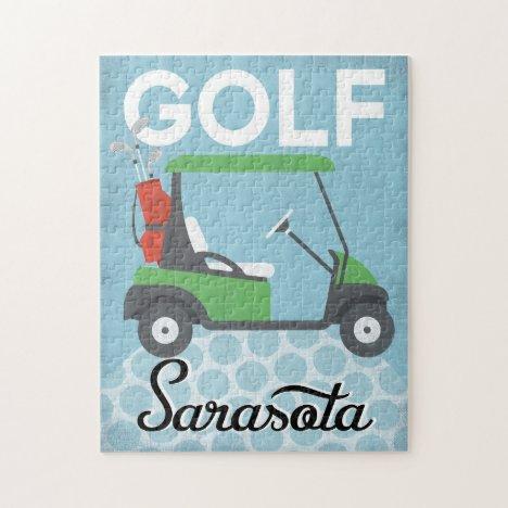Golf Sarasota Florida - Retro Vintage Travel Jigsaw Puzzle