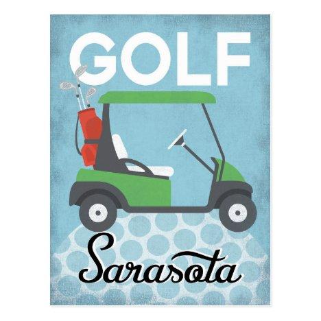 Golf Sarasota Florida - Retro Vintage Travel Postcard