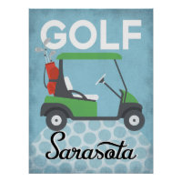 Golf Sarasota Florida - Retro Vintage Travel Poster