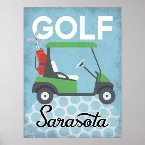 Golf Sarasota Florida - Retro Vintage Travel Poster