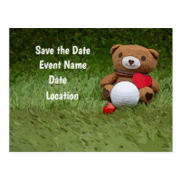 Golf Save the Date bear holds golf ball with love Postcard