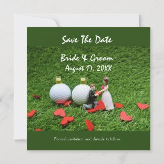 Golf save the date bride groom golf ball love announcement