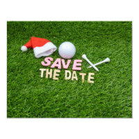 Golf Save the Date for Christmas Party with Santa Invitation