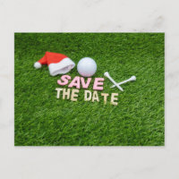 Golf Save the Date for Christmas Party with Santa Invitation Postcard