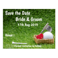 Golf Save the date for golfer's wedding with love Postcard