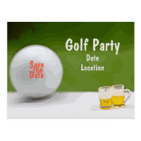 Golf Save the date for party with beer on green Postcard