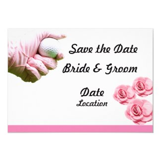 Golf Save the date for wedding pink theme Invitation