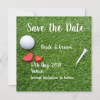 Golf Save the date for wedding with golf ball
