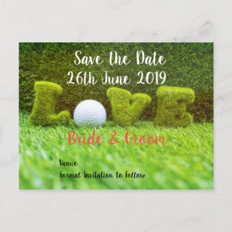 Golf Save the date for wedding with  golf ball Invitation Postcard