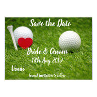 Golf Save the date for wedding with love and ball Invitation