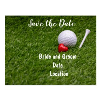 Golf save the date  golf ball with love on green postcard