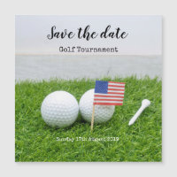 Golf Save the date Golf Tournament with U.S.A.flag