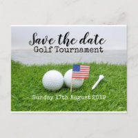 Golf Save the date Golf Tournament with U.S.A.flag Announcement Postcard