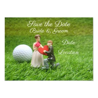 Golf Save the date groom and bride with love Invitation