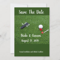 Golf Save the date Wedding with golf ball and love