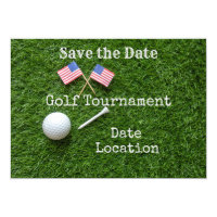Golf Save the date with flag of America and ball Invitation