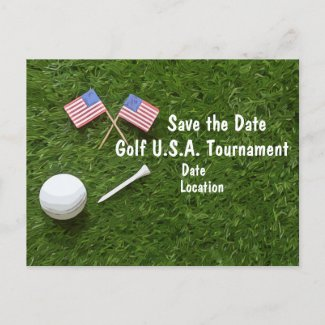 Golf Save the Date with flag of America on green Announcement Postcard