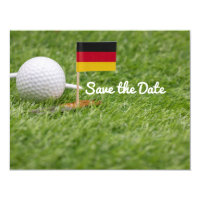 Golf Save the Date with flag of German on green In Invitation